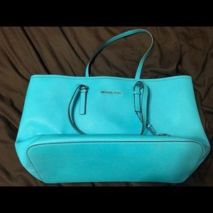 Turquoise Michael Kors tote - authentic